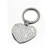 White Glitter Heart Key Fob