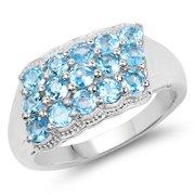 Malaika  1.50 Carat Genuine Swiss Blue Topaz .925 Sterling Silver Ring