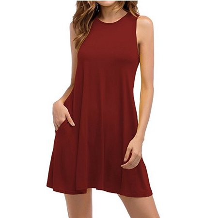 d11f1faf39c8 DYMADE - DYMADE Women s Summer Sleeveless Loose Swing Tunic Dress Casual T-Shirt  Dresses With Pocket - Walmart.com