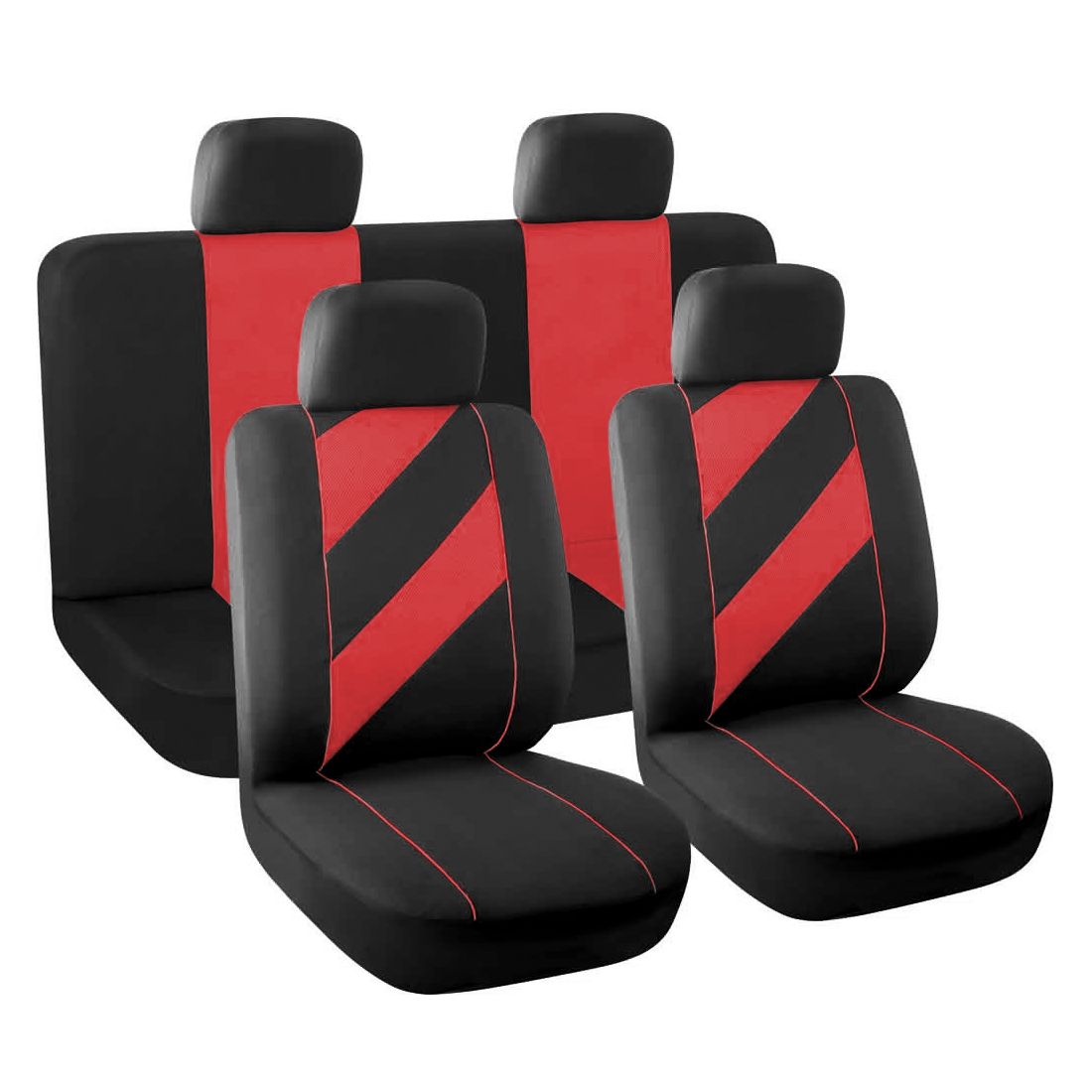 Breathable Flat Cloth Auto Car  Covers Headrests Full Set Red
