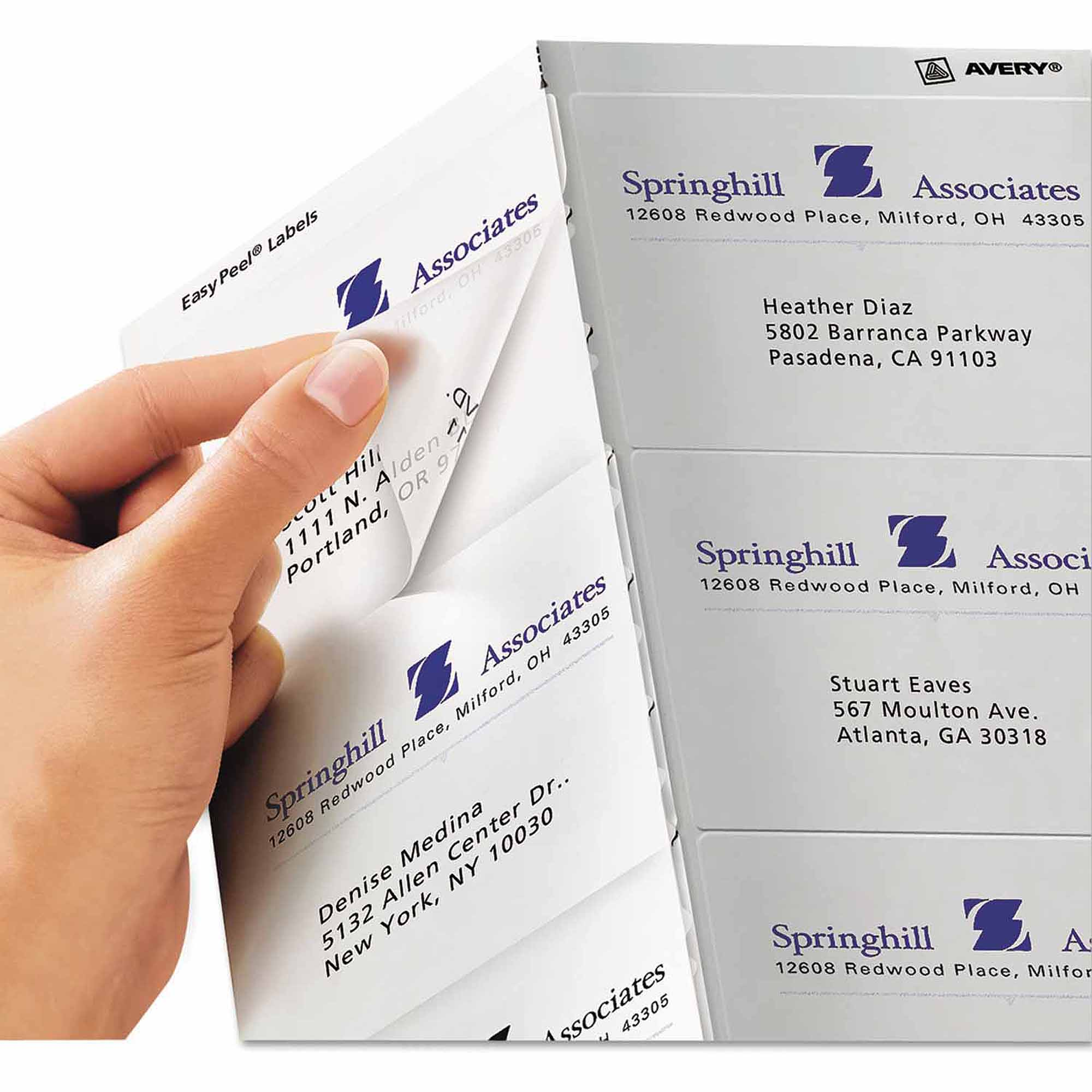 "Avery Easy Peel Mailing Labels for Inkjet Printers, 3-1/3"" x 4"", Clear, 60/Pack"