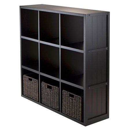 4-Pc Wainscoting Panel Shelf 3 x 3 Cube with 3 Foldable Baskets ()