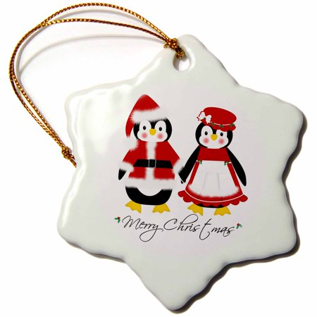 3dRose Cute Merry Christmas Mr and Mrs Santa Penguins - Snowflake Ornament, 3-inch (Mr And Mrs Santa Clause)