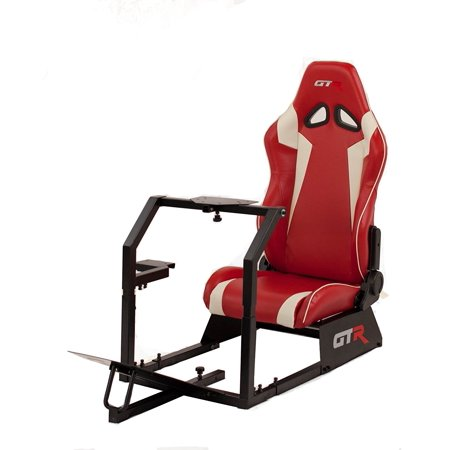GTR Racing Simulator GTA-BLK-S105LRDWHT GTA 2017 Model Black Frame with Red/White Real Racing Seat, Driving Simulator Cockpit Gaming Chair with Gear Shifter Mount](Gta Halloween 2017)