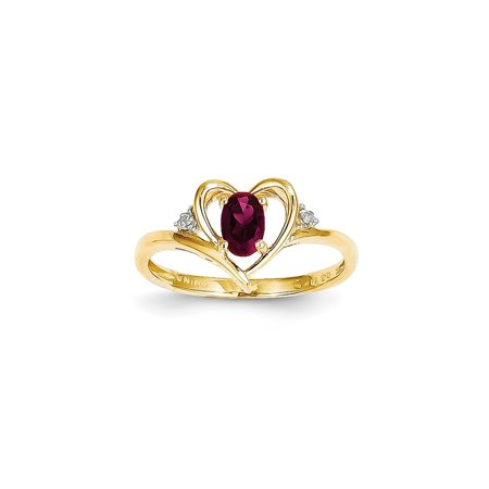 14k Yellow Gold Diamond Red Ruby Band Ring Size 7.00 Stone Birthstone July Set Style