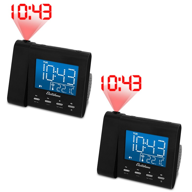 Electrohome Projection Alarm Clock with AM/FM Radio, Battery Backup, Auto Time Set, Dual Alarm, Sleep Timer, Indoor Temperature/Day/Date Display with Dimming & Audio Input for Smartphones - 2 Pack