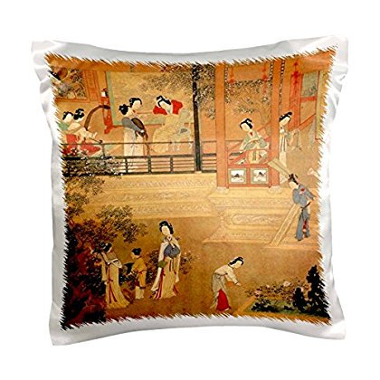 3dRose Print of Chinese Ladies In Palace In Ming Dynasty, Pillow Case, 16 by 16-inch