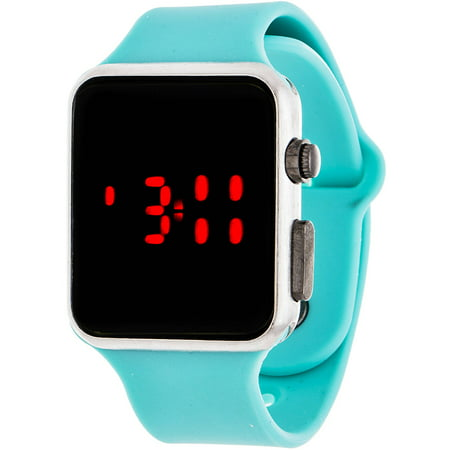 LED Digital Watch, Turquoise Rubber Strap