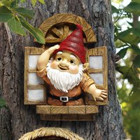 Design Toscano The Knothole Gnomes Garden Welcome Tree Sculpture: Window Gnome