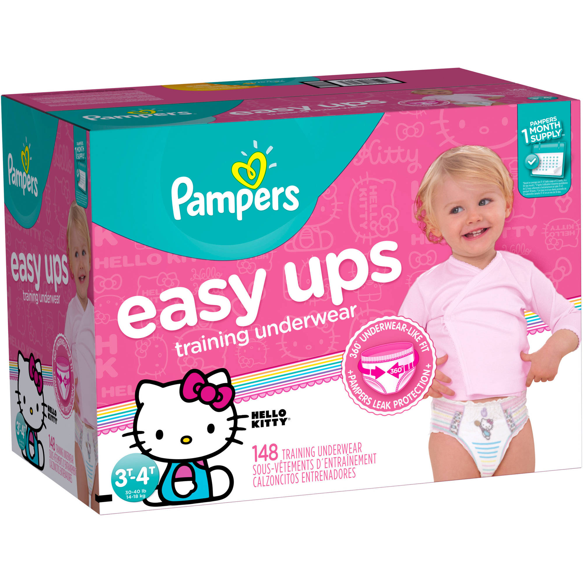 Pampers Easy Ups Girls Training Pants, Size 3T-4T (Choose Pant Count) - Characters May Vary