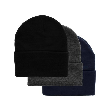 DG Hill Set Of 3 Mens Warm Winter Hats, Navy Blue, Slate Gray & Black Beanie Hats, Pack Of Soft Acrylic Caps, Cuff Beanie Hat For Men, Cold Weather Toboggans, Thermal Work Hat for $<!---->
