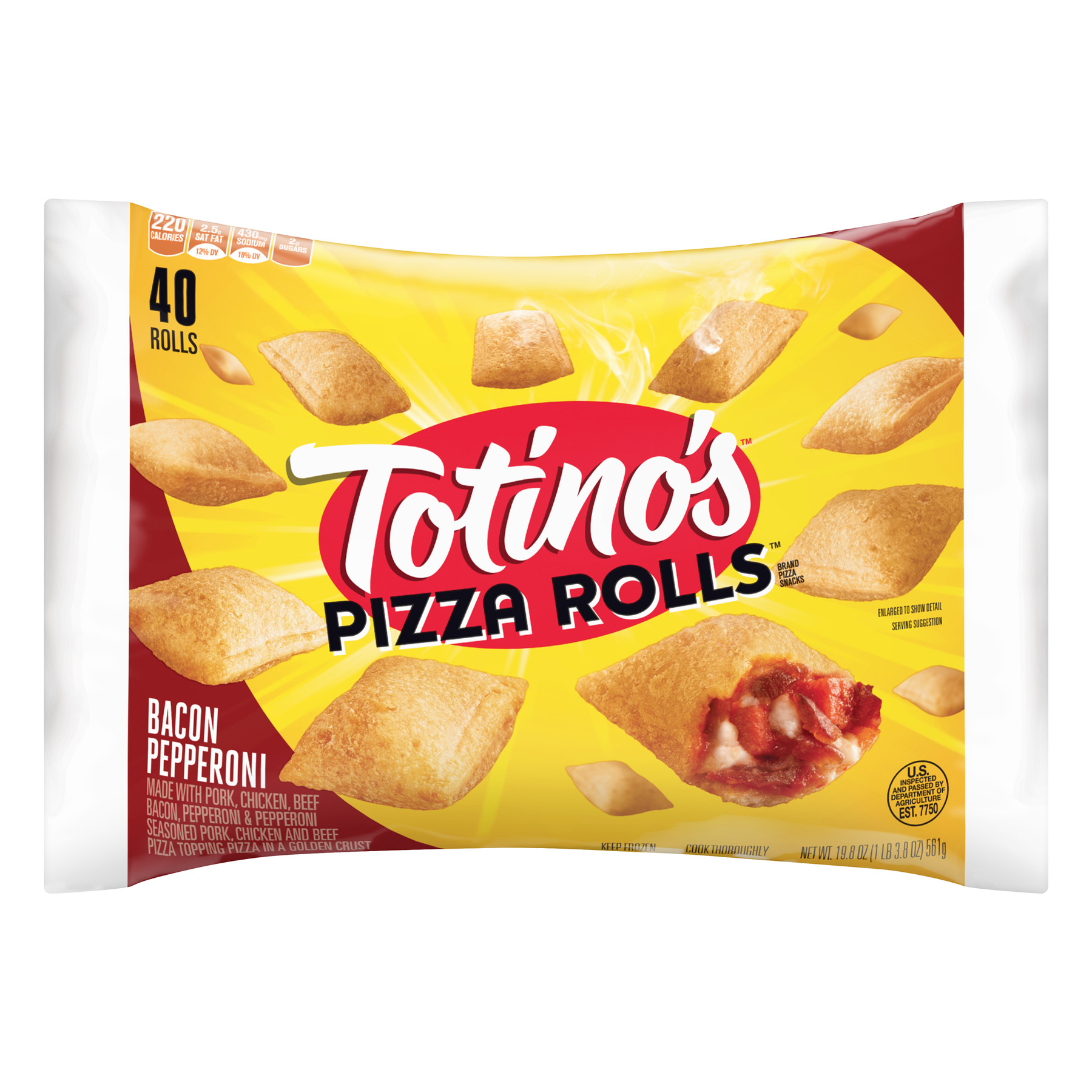 Totino's Pepperoni and Bacon Pizza Rolls Snacks, 19 8 oz