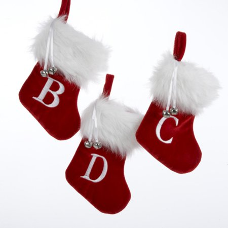 Pack of 105 Monogrammed Red and White Mini Christmas Stockings with Bells 7
