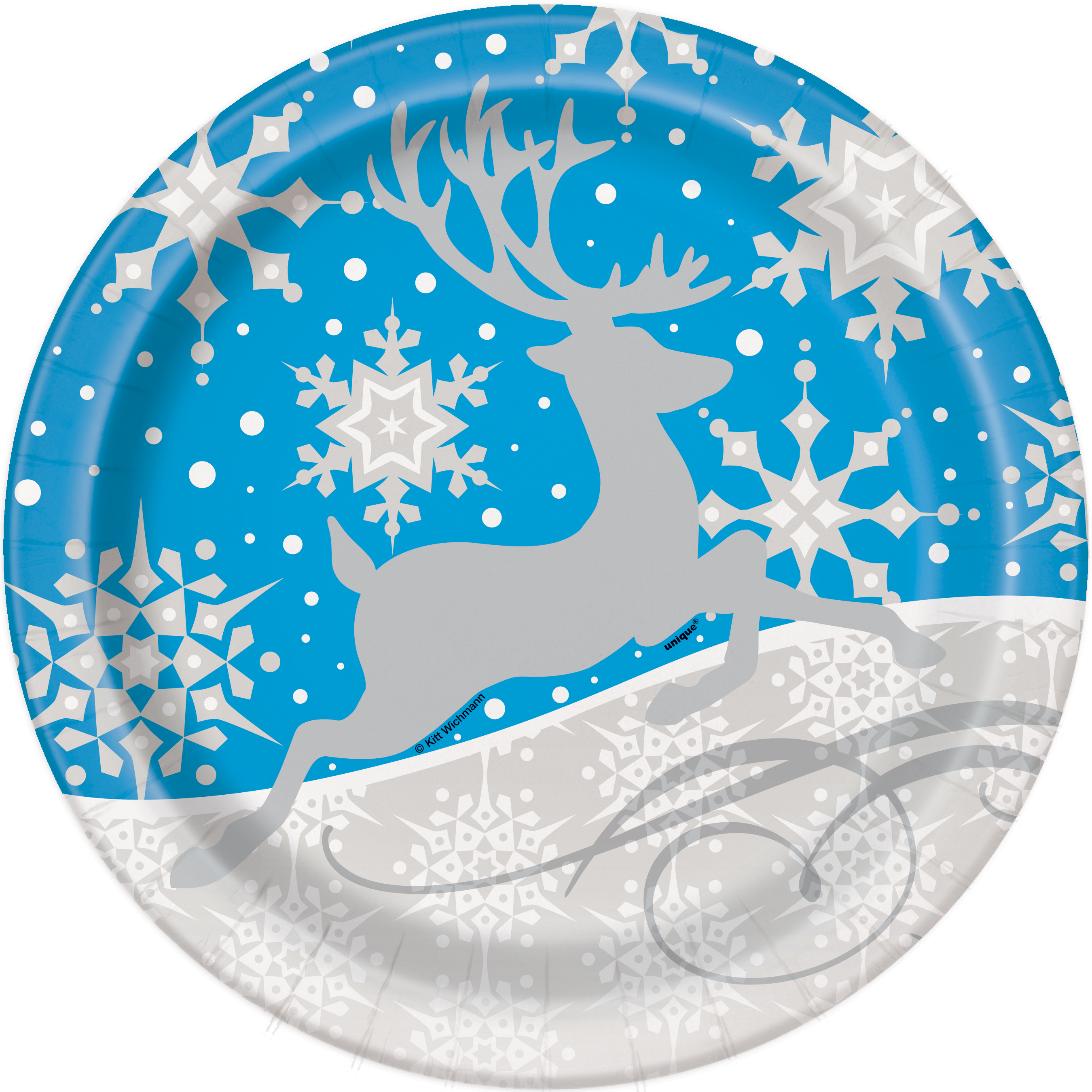 """9"""" Silver Snowflake Christmas Party Plates, 8ct"""