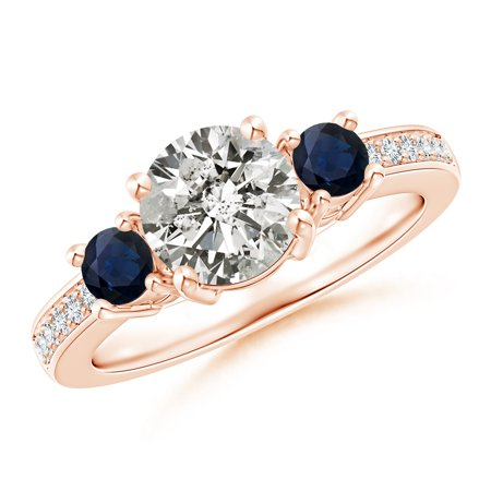 April Birthstone Ring - Classic Three Stone Diamond and Blue Sapphire Ring in 14K Rose Gold (7mm Diamond) - SR0155DS-RG-KI3-7-7.5