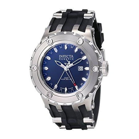 Invicta Men's 6182 reserve collection gmt stainless steel black rubber watch Invicta Gmt Watch