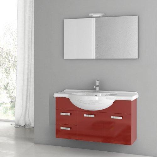 ACF by Nameeks ACF PH03-GR Phinex 39-in. Single Bathroom Vanity Set - Glossy Red