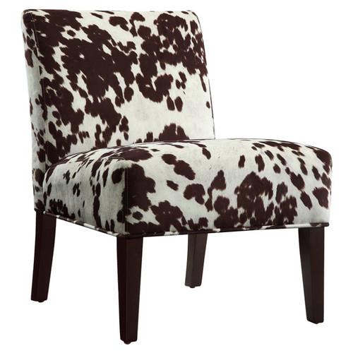 Chelsea Lane Maxfield Brown Cowhide Print Lounger Chair Brown