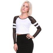 Stanzino Women's Colorblocked Long Sleeve Crop Top White-S