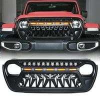 Xprite Black Venom Grille with Amber LED Running Lights for 2018-2020 Jeep Wrangler JL JT