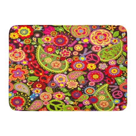 SIDONKU Hippy Hippie Colorful Flower Power Pattern Paisley Sixties 1970S Doormat Floor Rug Bath Mat 23.6x15.7 inch (Sixties Flower Power)
