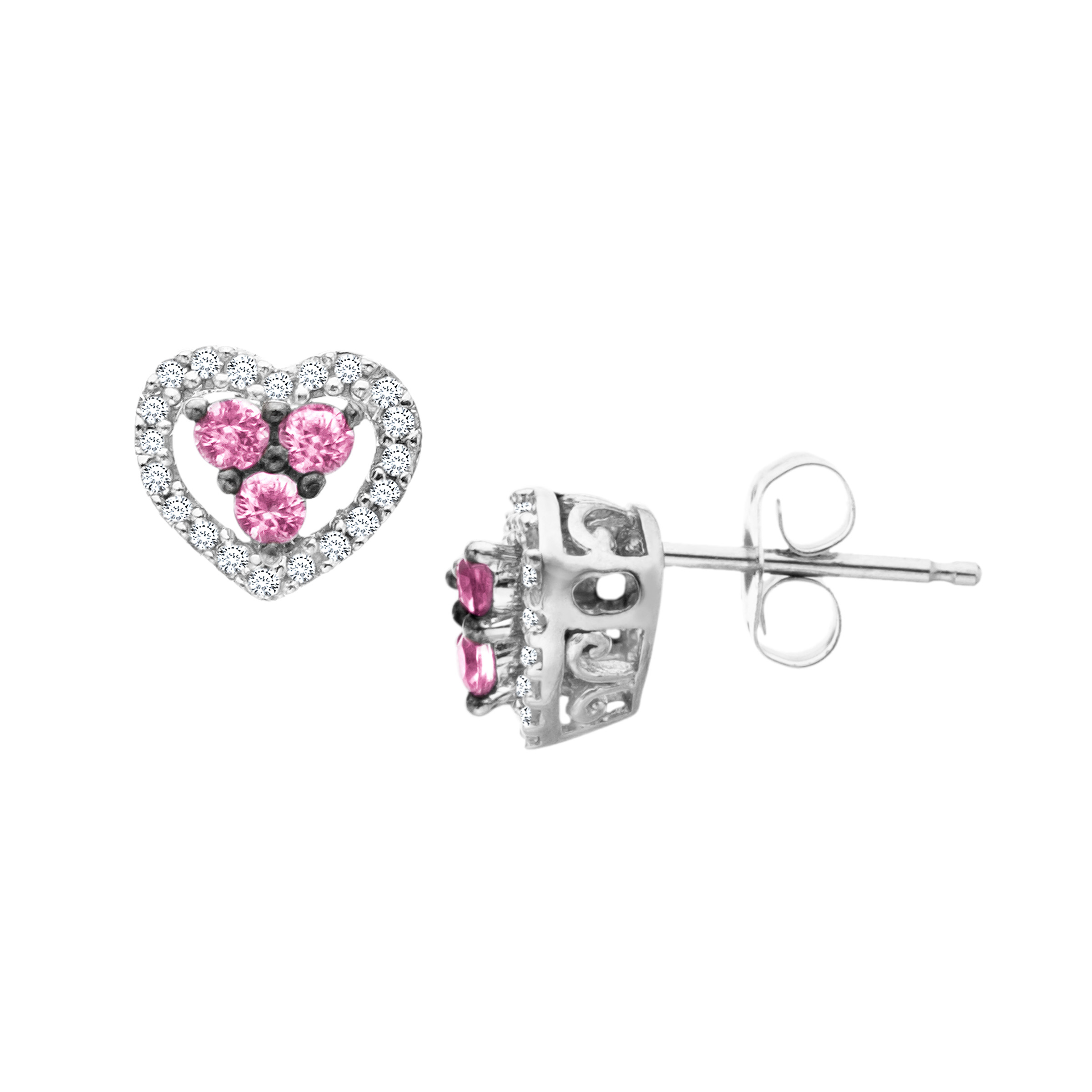 Natural Pink Sapphire and 1 10 ct Diamond Heart Stud Earrings in 14kt White Gold by Richline Group
