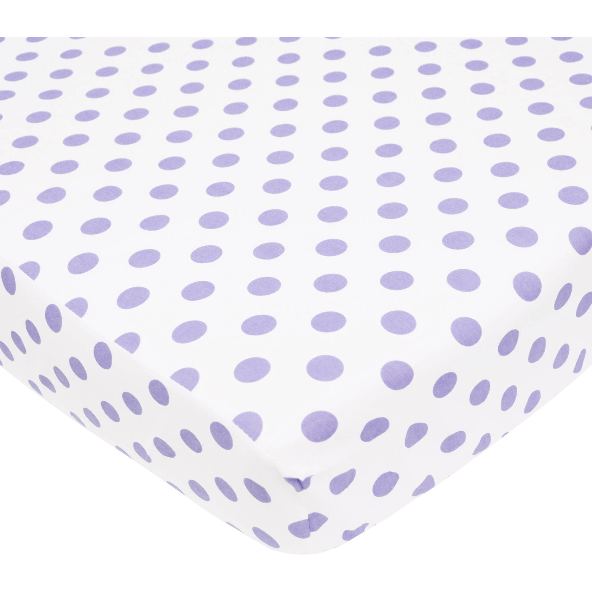 TL Care 100 Percent Cotton Percale Fitted Crib Sheet, White with Lavender Dot