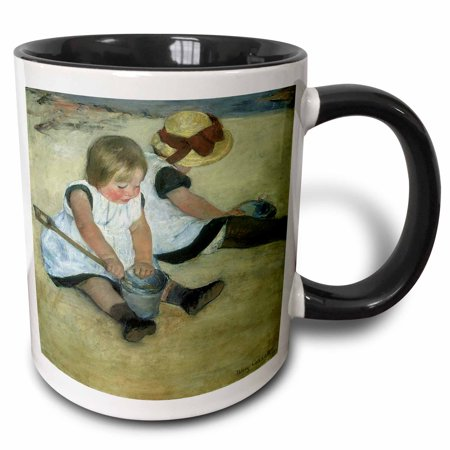 - 3dRose Children at the Seashore by Mary Cassatt - Two Tone Black Mug, 11-ounce