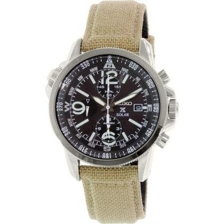 Seiko Mens SSC293 Beige Nylon Quartz Watch by