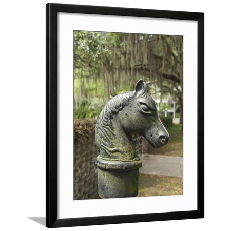 Antique Horse Head Carriage Hitch and Oak Trees in Spanish Moss, Beaufort, South Carolina, Usa Framed Print Wall Art By Cindy Miller Hopkins