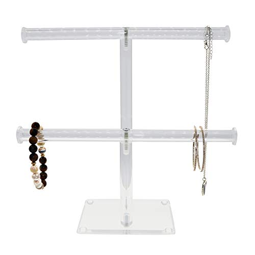 3 PCS ACRYLIC METAL TREE EARRING NECKLACE JEWELRY DISPLAY STAND RACK HOLDER