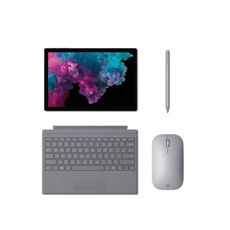 Microsoft Surface Pro 6 Bundle, Silver, 12 3 PixelSense Touchscreen  2736x1824 267 PPI, i5-8250U, 8GB RAM, 128GB SSD, with Official Type Cover,  Mouse