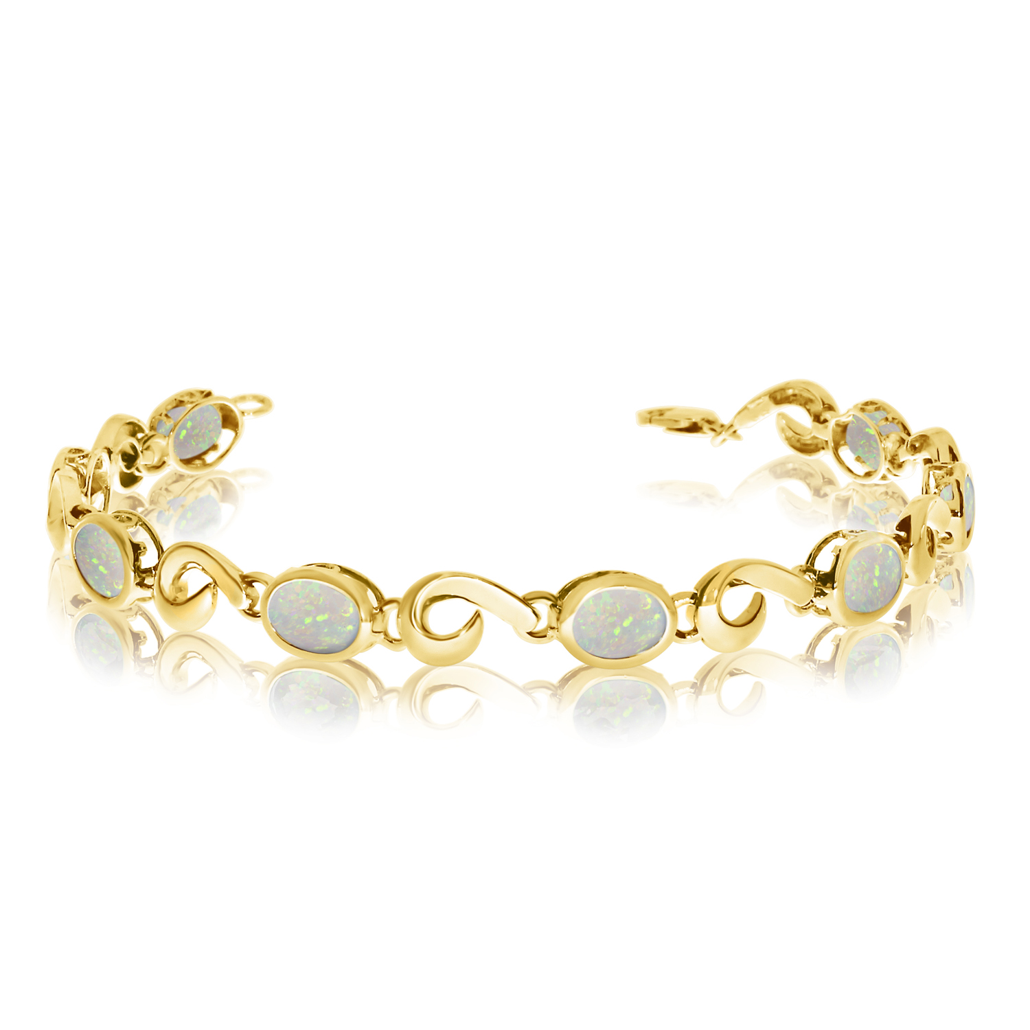 14K Yellow Gold Oval Opal Bracelet by LCD
