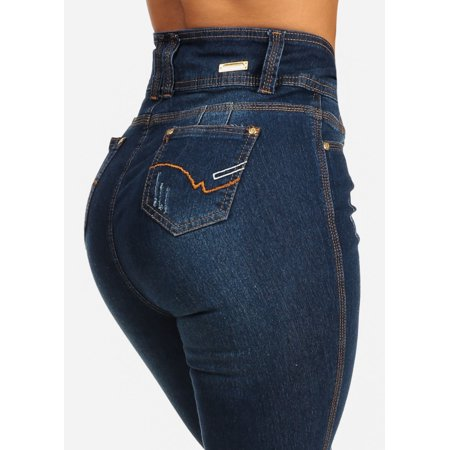 Silver Jeans Embroidered Jeans - Womens Juniors Butt Lift Design High Waist Dark Wash Skinny Jeans 10739F