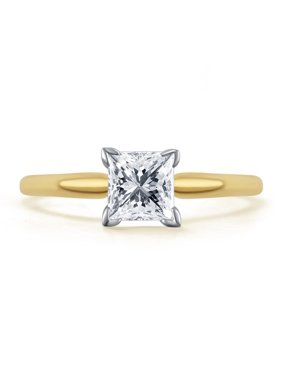 14k Yellow Gold Princess Cut Solitaire Diamond Engagement Promise Ring 3/4 ct
