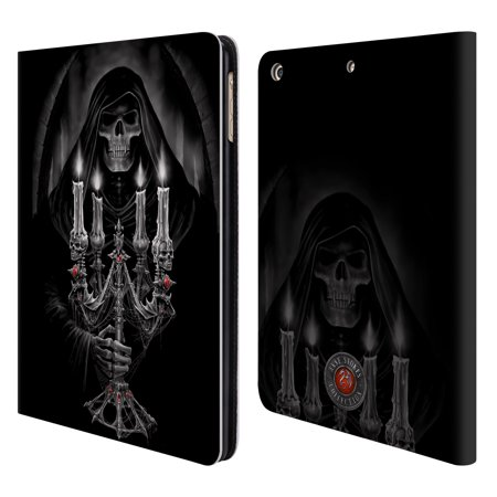 OFFICIAL ANNE STOKES TRIBAL LEATHER BOOK WALLET CASE COVER FOR APPLE IPAD - Skull Candelabra