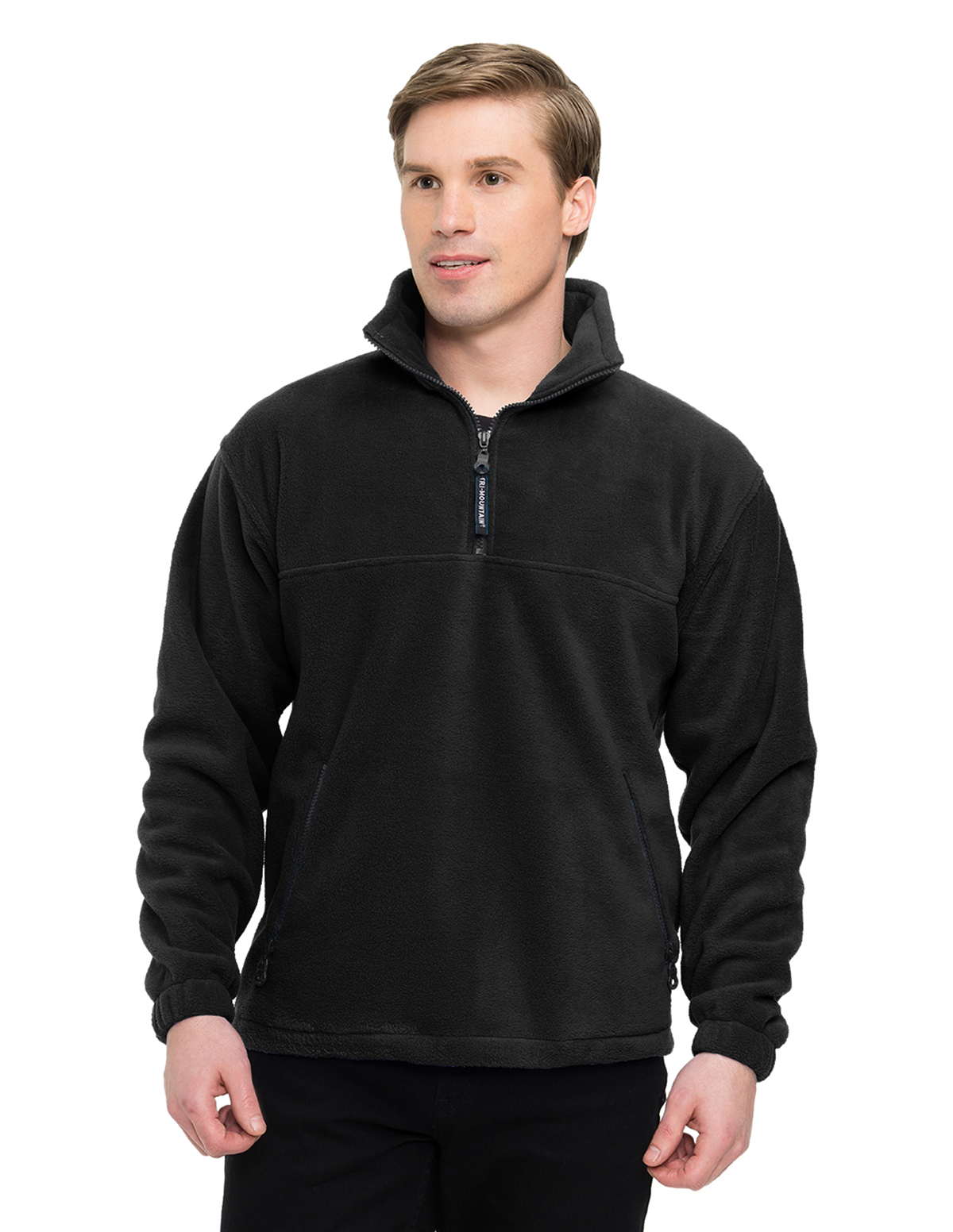 Viking 7550 Panda Fleece 1/4 Zip Pullover, 2X-Large, Black/Black