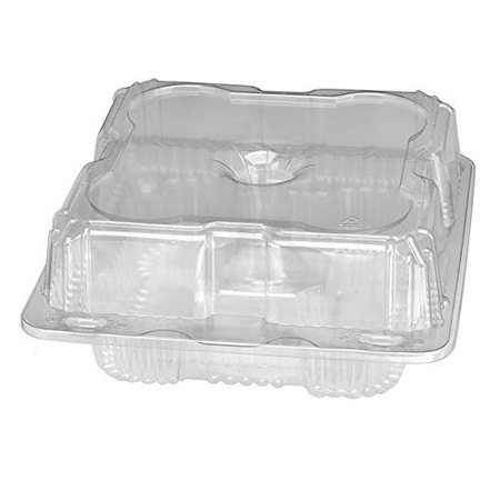 4 Compartment Cupcake Muffin Holders Set of 10 Clear Plastic Cupcake Dome Carrier Containers With Resealable Lids.