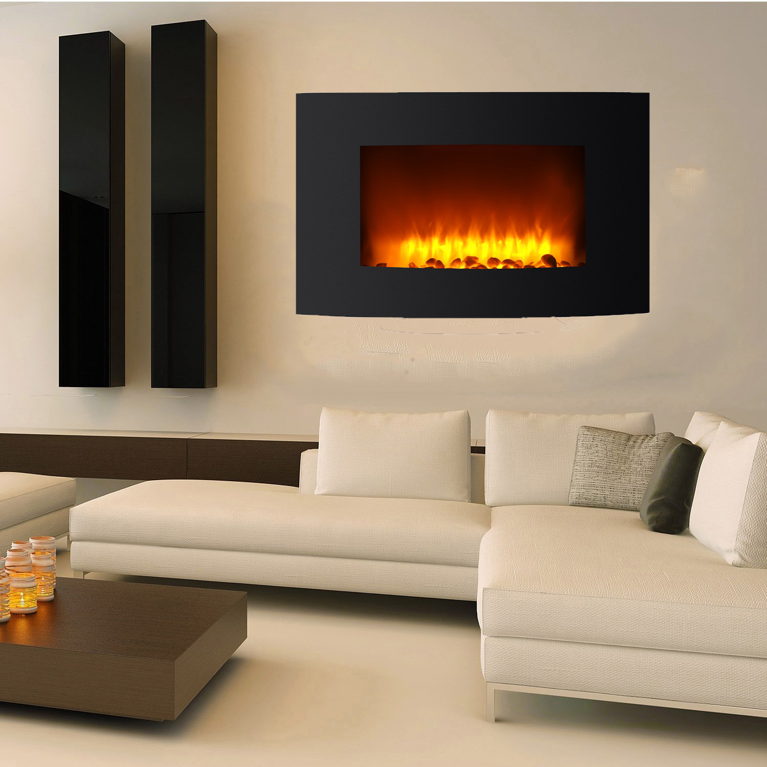 "Ktaxon 36"" Wall Mount Electric Fireplace LED Heater Remote Control"