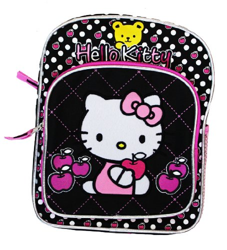 "Mini Backpack - Hello Kitty - w/Apple Black 10"" New 816749"
