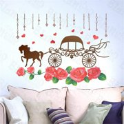 HL-2106 Romantic Carriage - Large Wall Decals Stickers Appliques Home Decor