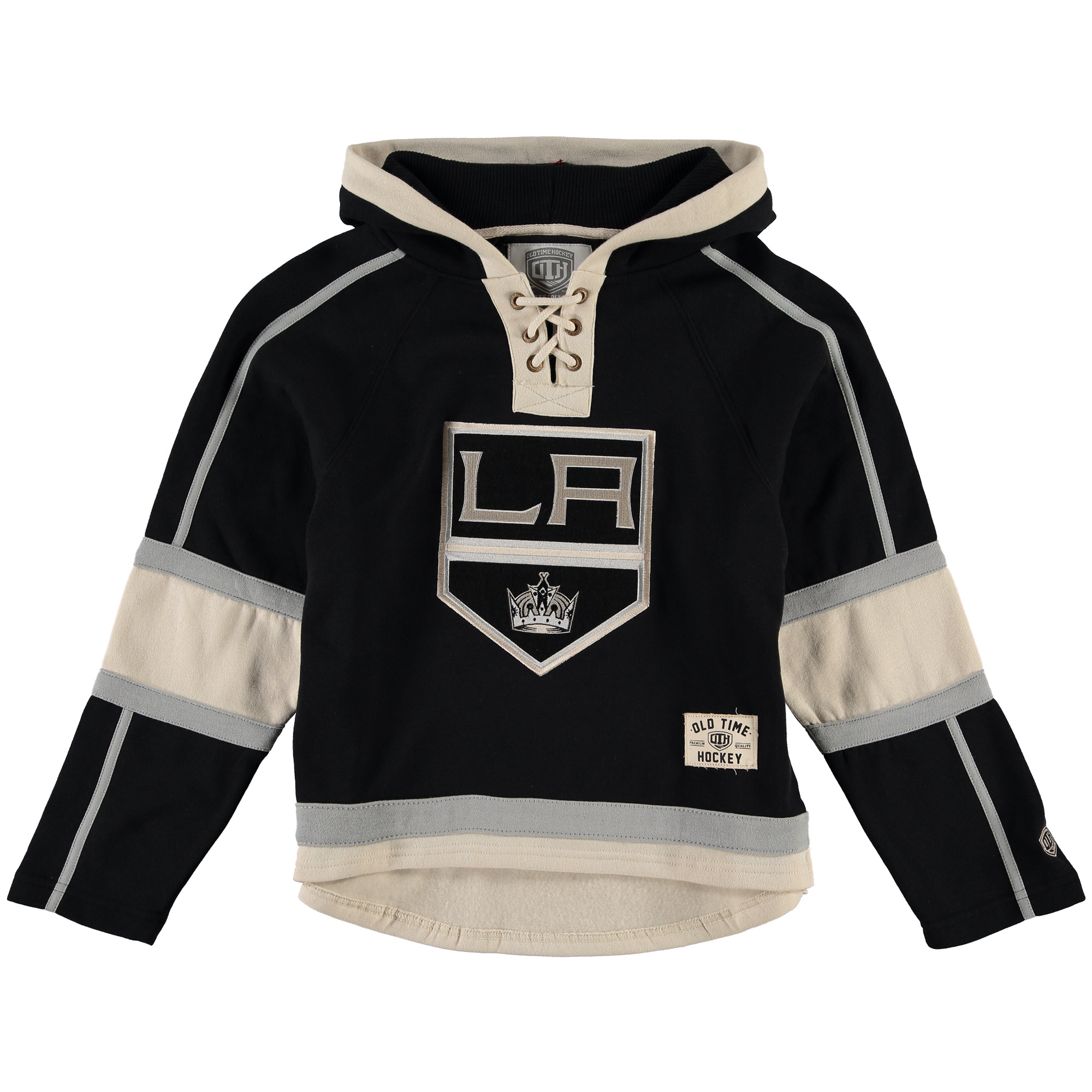 Los Angeles Kings Old Time Hockey Youth Current Lacer Heavyweight Hoodie Black by Old Time Hockey