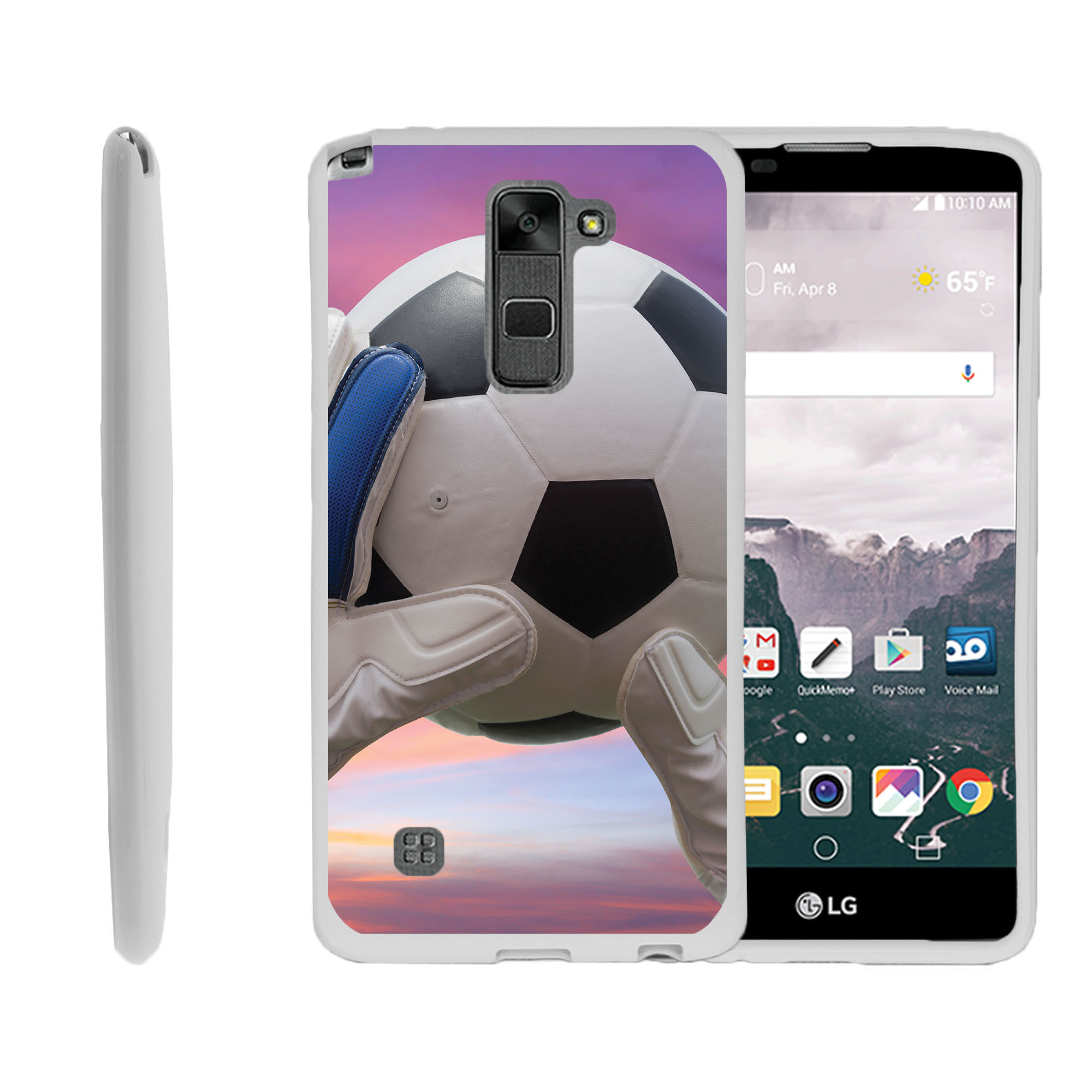LG G Stylo 2, LG G Stylus 2 LS775, Flexible Case [FLEX FORCE] Slim Durable TPU Sleek Bumper with Unique Designs - Soccer Ball and Goalie