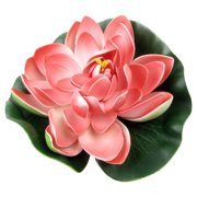"Unique Bargains Aquarium Floating Lotus Foam Water Plant Decoration Green Ulter Red 6.3"" Dia"