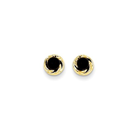 14k Black Onyx Gold Wreath Post Stud Earrings Holiday Gifts For Women For Her
