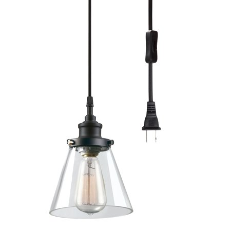 Globe Electric Jackson 1-Light Matte Black Plug-In Pendant, 65580