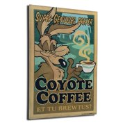 Lord Mischief Entertainment Chuck Jones ''Coyote Coffee'' by Mike Peraza Vintage Advertisement Plaque