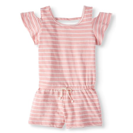 Girls Striped Romper - Big Girls' French Terry Striped Cold Shoulder Romper