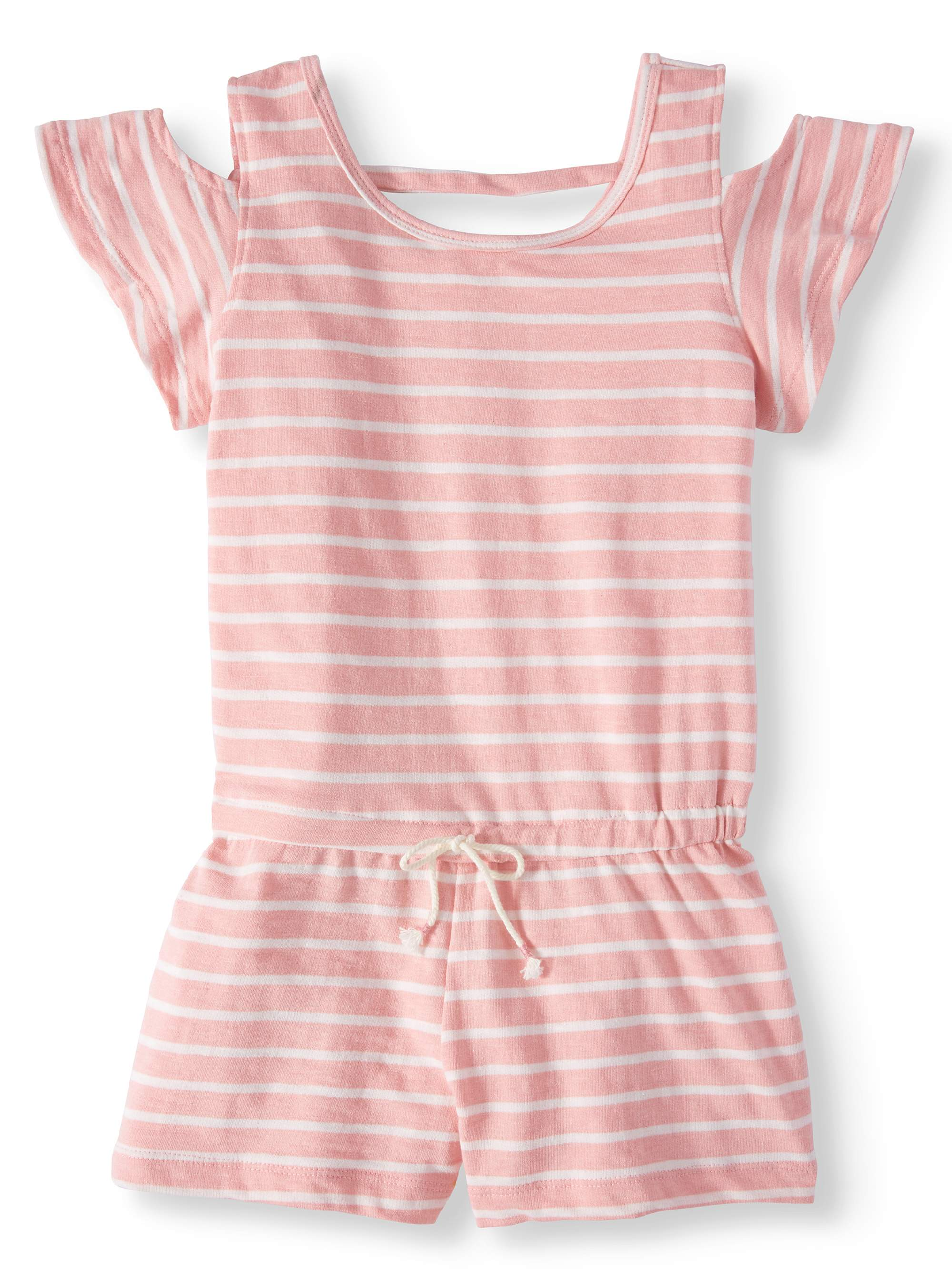 Big Girls' French Terry Striped Cold Shoulder Romper