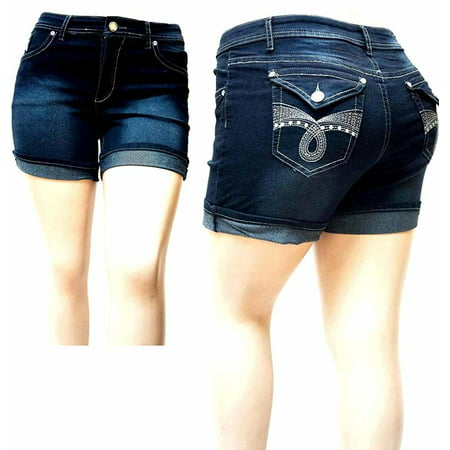 Give me Five Women's Plus Size Dark Blue Denim Jeans Short
